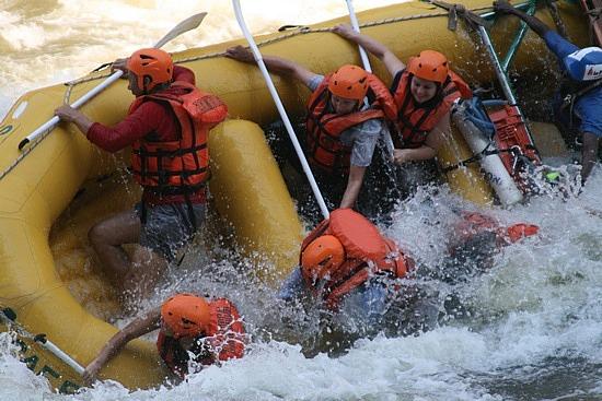 Wild wet raft ride down the Zambezi