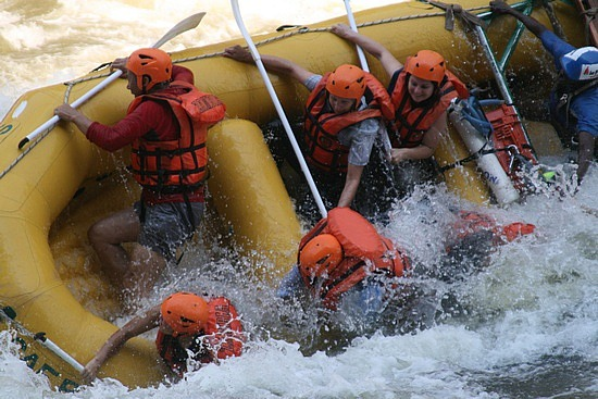 Wild wet raft ride down the Zambezi